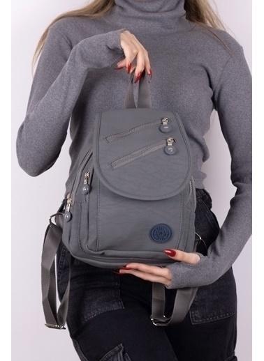 Tonny Black Tonny Black Tbc111 Badi Bag Kullanışlı Çok Gözlü Logolu Klinkır Kadın Sırt Çanta Gri